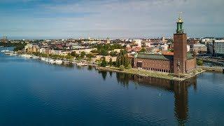 Stockholm epic morning drone flight