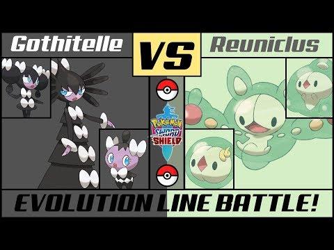 GOTHITELLE vs REUNICLUS - Evolution Line Battle (Pokémon Sword/Shield)