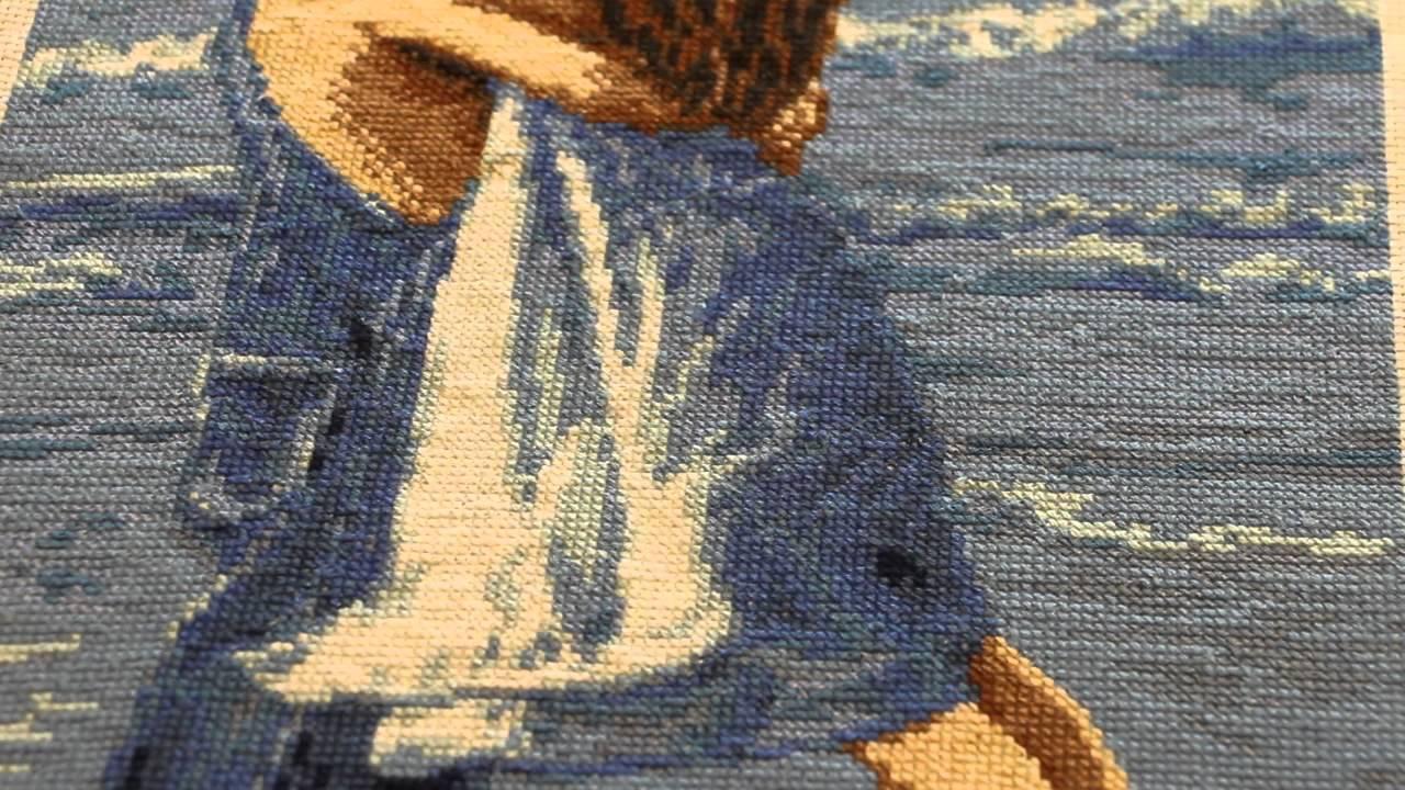 Вышивка крестом по нанесенному рисунку на канве 886