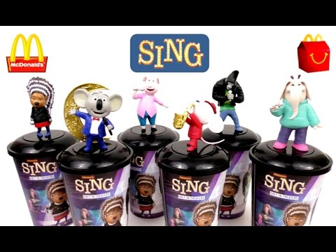 SING MOVIE McDONALD'S HAPPY MEAL TOYS THEATER CUPS CUP TOPPERS FULL SET 6 2016 2017 WORLD COLLECTION
