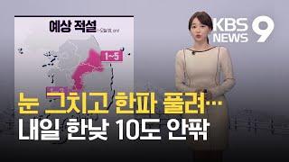 [날씨] 밤사이 눈 그쳐…내일 전국 미세먼지 '나쁨', 기온 크게 올라 / KBS