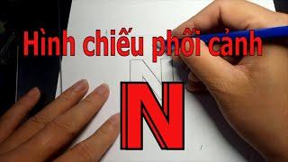Vẽ Hình chiếu phối cảnh 1 điểm tụ của vật thể chữ N