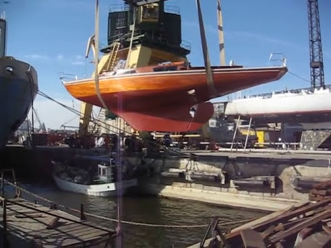 Wooden Mahogany Sailing Yacht Autrimpas After Hull Repairing 2010