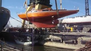 Wooden mahogany sailing yacht