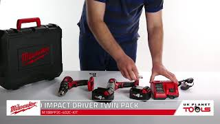 Milwaukee M18 BPP2C-402C Percussion Drill and Impact Driver Twin Pack | UK Planet Tools