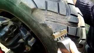 Нарезка протектора на тракторе / Cutting of protector on a tractor