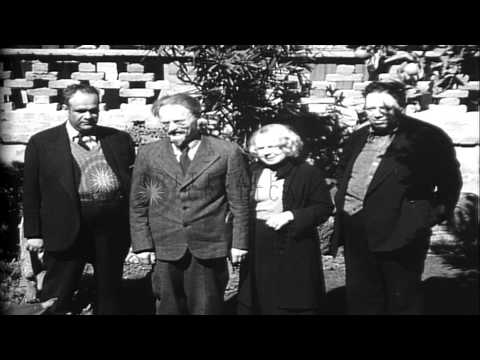 Former Soviet leader Leon Trotsky, in exile with his wife visits communist leader...HD Stock Footage