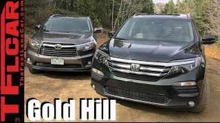 2016 Honda Pilot vs Toyota Highlander take on Gold Mine Hill Off-Road Review