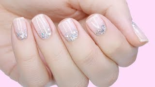 DIY ROMANTIC BRIDAL GLITTER GRADIENT MANICURE | NAILS FOR WEDDING, PROM OR EVENTS!