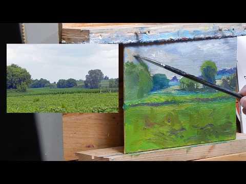 TomFisherArt 86 Oil Painting Landscape Farm Fields Instruction