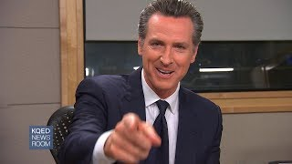 """California lt. gov. gavin newsom says he wants california's top job, but that would pass on running for president. """"with all due respect, ex-president sou..."""