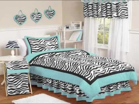 Zebra Print Rooms zebra bedding-hot pink & black, purple, blue & green zebra print