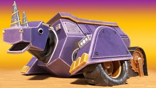 AnimaCars - HELP The RHINOCEROS DUMP TRUCK is sinking in quicksands - cartoons with trucks & animals