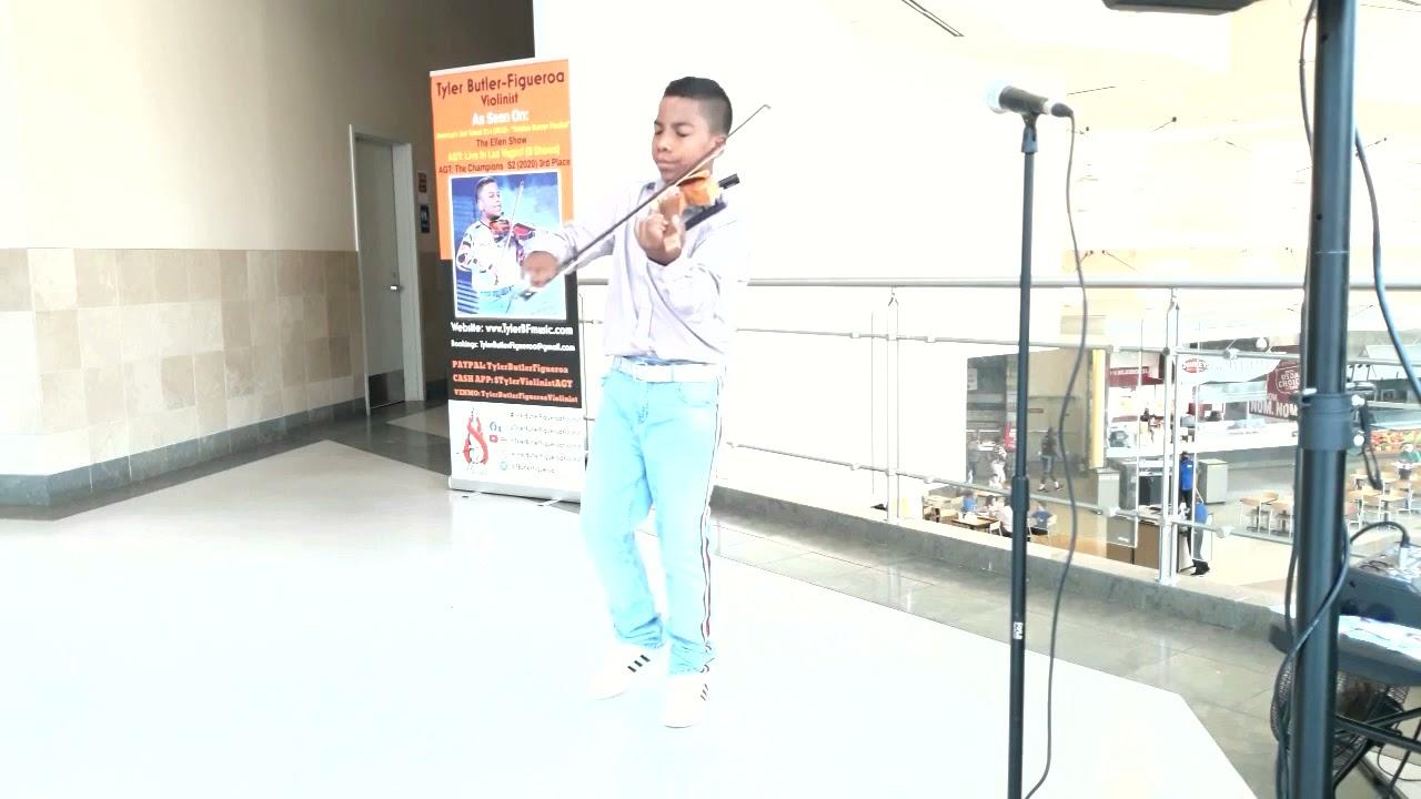 """""""Ave Maria"""" Franz Schubert - Tyler Butler-Figueroa Violinist (13) AGT Triangle Town Center Mall NC"""