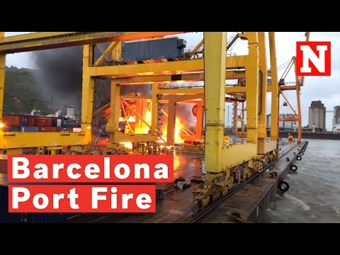 Barcelona Port Catches Fire After Ferry Crashes Into Crane