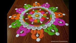 Very easy multicolored rangoli using a bottle cap and fork | Easy rangoli designs by Poonam Borkar