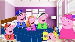 Детские песенки Свинка Пеппа в костюмах Щенячьего патруля прыгает на кроватке