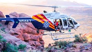 Helicopter rescue in canyon - Full rescue air lift - Superstition Wilderness