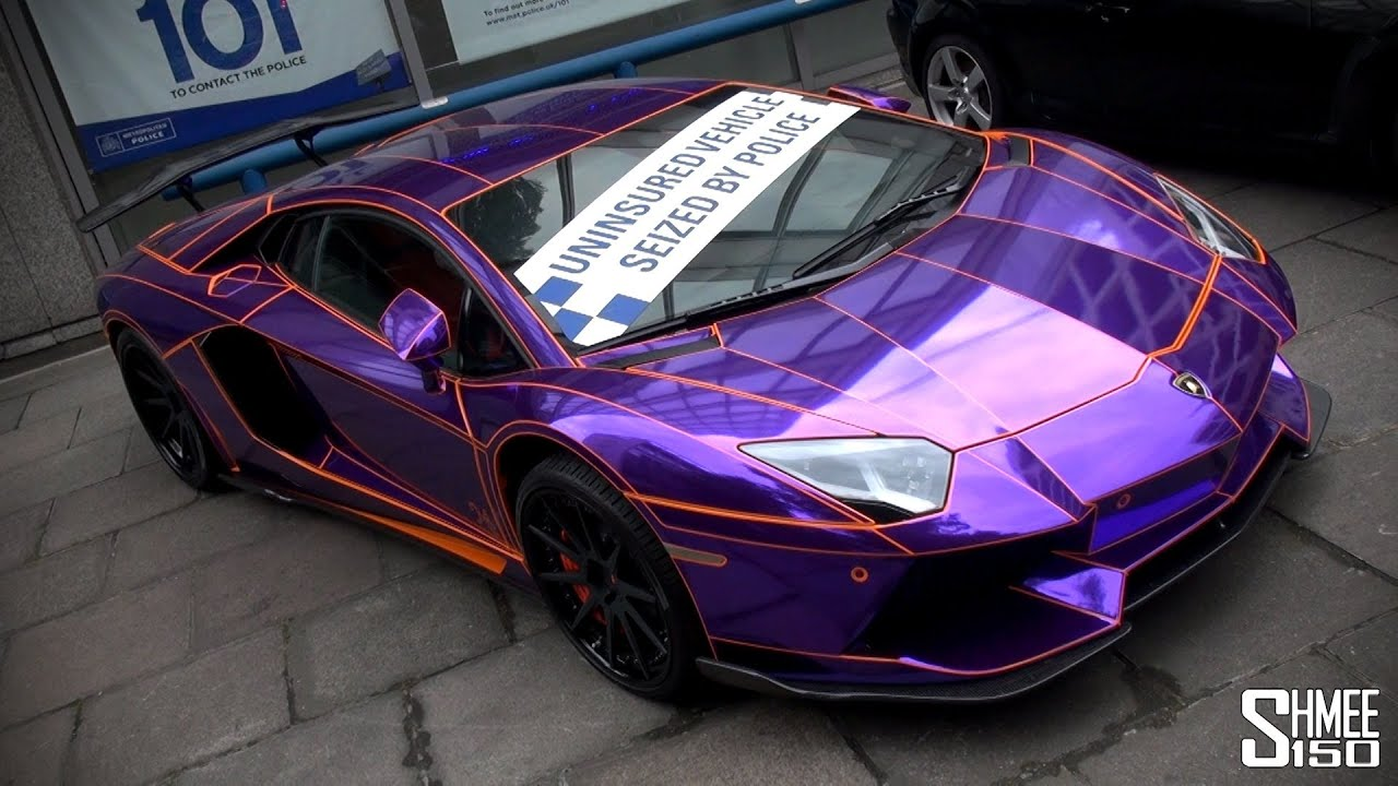 Seized Purple Chrome Lamborghini Aventador In London Youtube