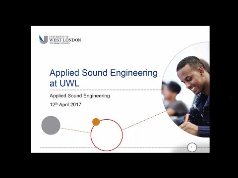 Webinar: Studying Applied Sound Engineering at the University of West London