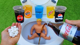 Experiment !! Stretch Armstrong VS Toilet Cola Light, Fanta, Pepsi, Mtn Dew, Power ade and Mentos