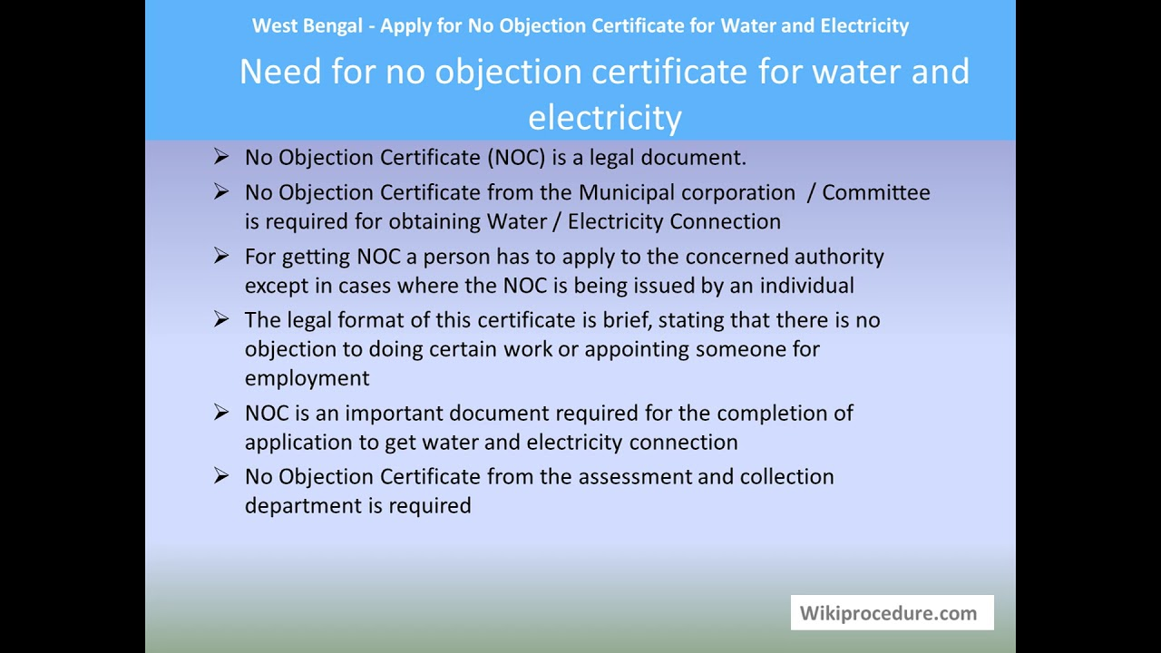 Habra - Apply for No Objection Certificate for Water and