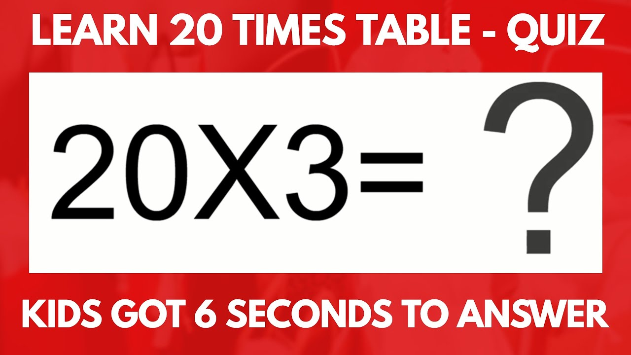 20 Times Table Quiz | Learn  Interactive 20 Multiplication Table