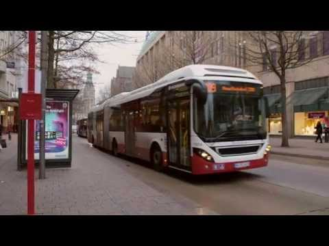 Volvo plug in hybrid bus in Hamburg