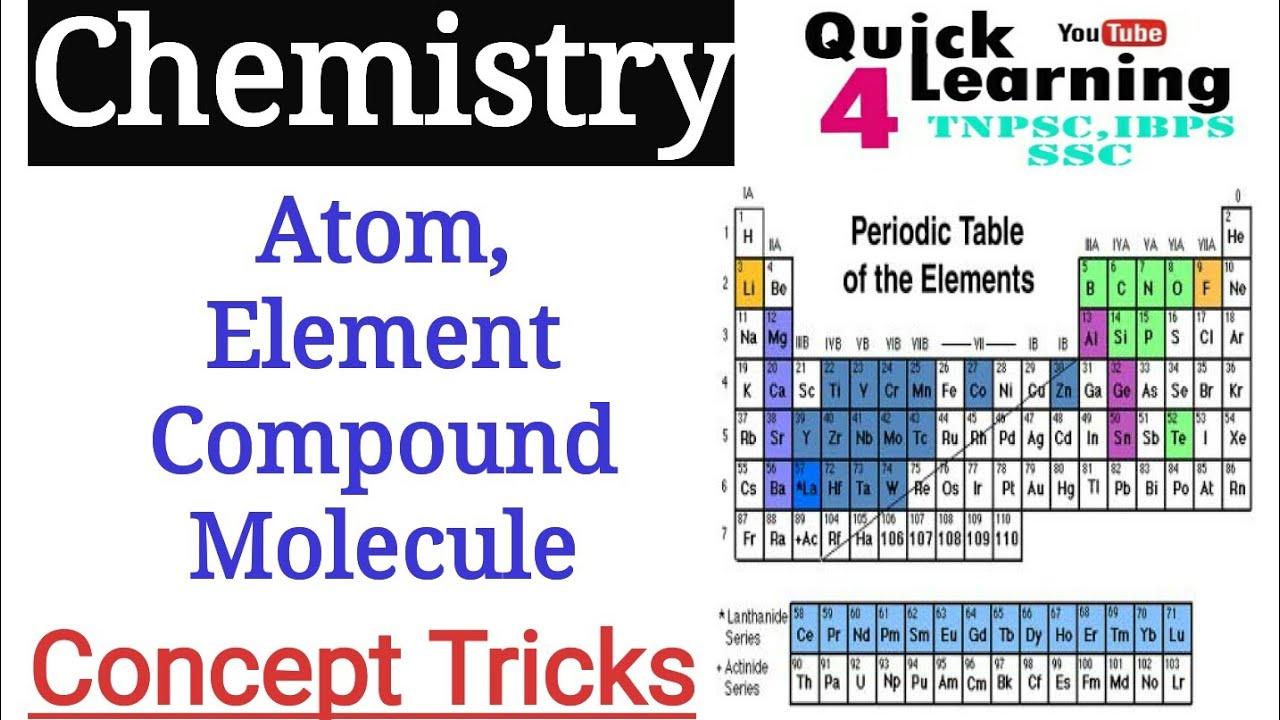 Chemistry Atom Element Compound Molecules In Tamil Chemistry Shortcut Tricks