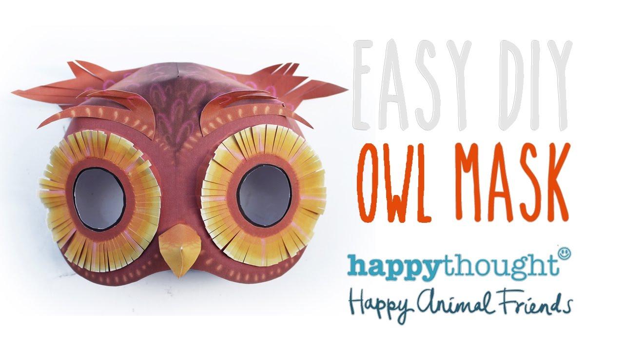 Printable Owl Mask Template Easy Costume Idea Youtube