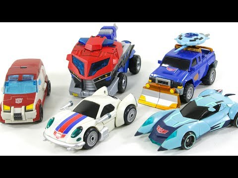 Transformers Animated Autobots Optimus Prime Jazz Ratchet Blurr Sentinal Prime Vehicle Robots Toys