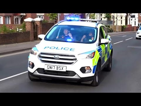 BRAND NEW Police car responding with sirens + red lights