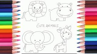 How to draw Lion Hippo Elephant Ziraffe for Kids Learn Drawing Step by Step 如何怎样画狮子河马大象长颈鹿小孩学画画