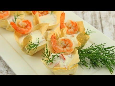 Knusper-Körbchen mit Meerrettich-Dillcreme & Garnelen (vegetarisch möglich)