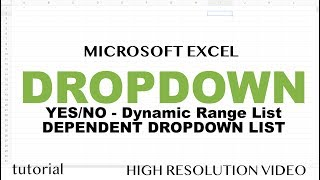 Excel - Drop Down List Tutorial - How to Create Yes/No List, Dynamic Range, Dependent Drop Down List