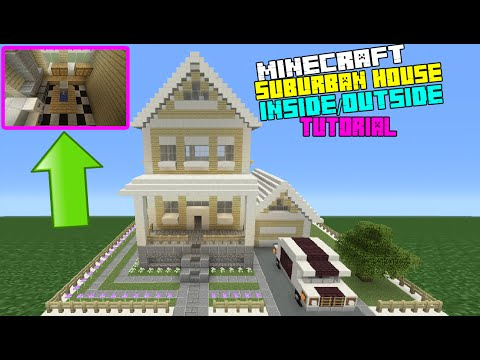 Minecraft Tutorial: How To Make A Suburban House - 7 (Inside/Outside)