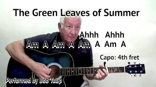 The Green Leaves of Summer - The Alamo film song - guitar lesson with on-screen chords and lyrics