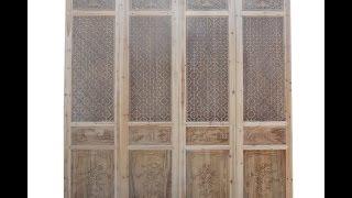 Oriental Round Flower See Through Geometric Pattern Door Panel Screen Cs396