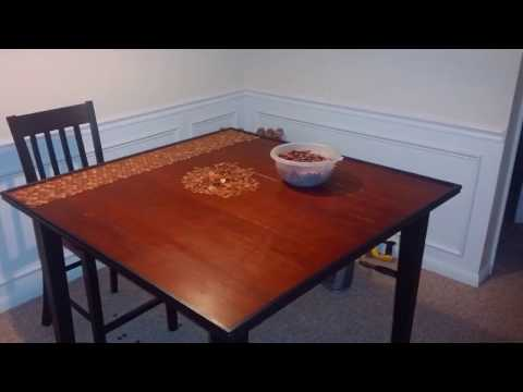 Penny custom epoxy resin table build (bar top)