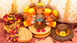 No Bake Thanksgiving Cookies: Oreo Candy Corn Turkeys, Rolo Pilgrim Hats & Nutter Butter Acorns