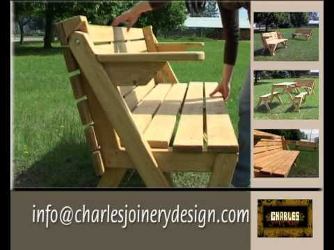 Folding picnic bench and table youtube Picnic table that turns into a bench
