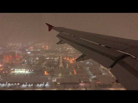 """Snowy """"Spring"""" Night Arrival into Calgary. Air Canada Rouge A319"""