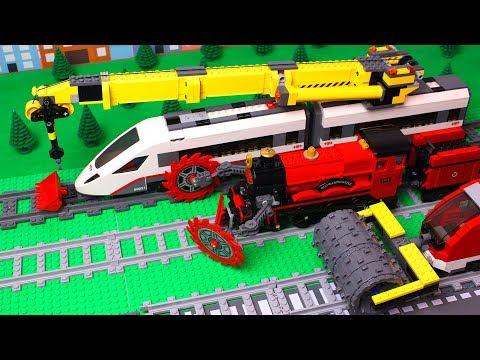 Lego Crane, Bulldozer, Excavator Experimental Train Construction Kids Toy Vehicles