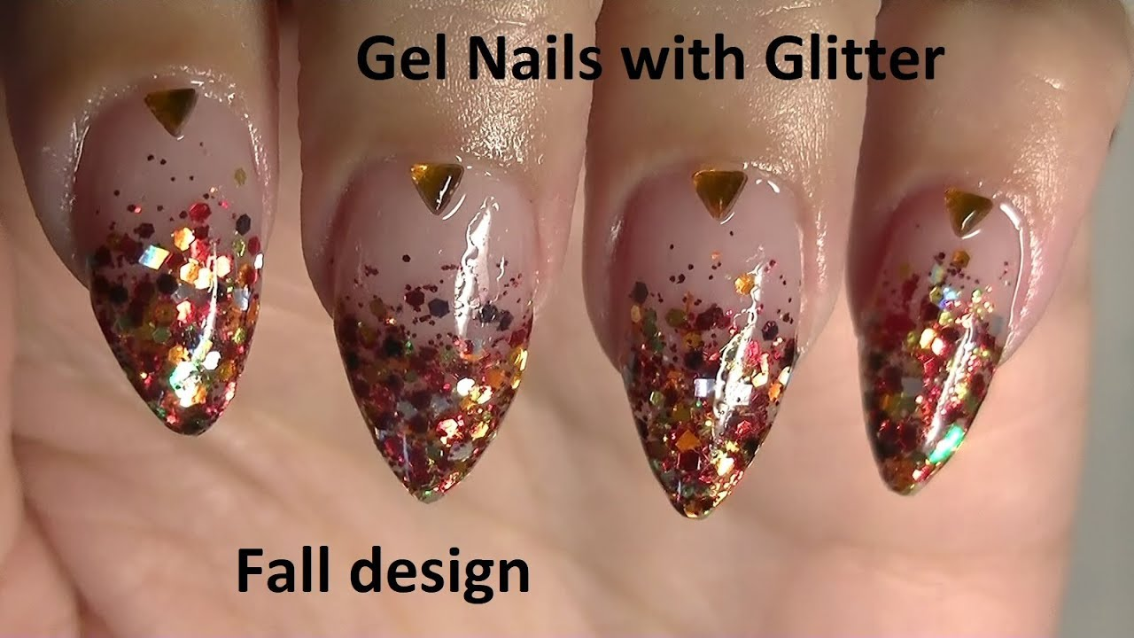 ♥ Allergy-Friendly Gel Nails With Glitter ~ Fall Colors ♥ - YouTube