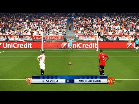 SEVILLA vs MANCHESTER UNITED | UEFA Champions League UCL | Penalty Shootout | PES 2018 Gameplay