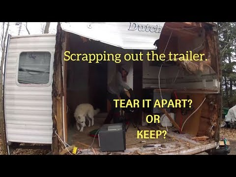 I started to tear apart the camper trailer. Cleaning up appliance parts for resale.