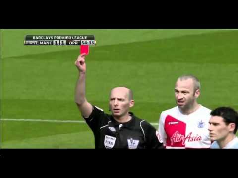 JOEY BARTON manchester city vs qpr barton red card.
