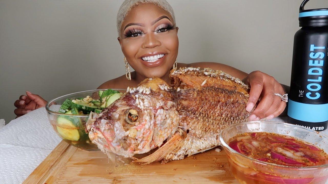 WHOLE FRIED FISH MUKBANG 먹방 EATING SHOW!