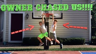 DRIVE BY DUNK CHALLENGE! *OWNERS CHASED US*