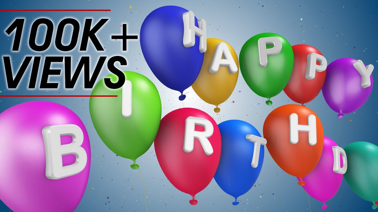 Happy Birthday Wishes 3D Animation Greetings With Colorful Balloons Motion Graphics